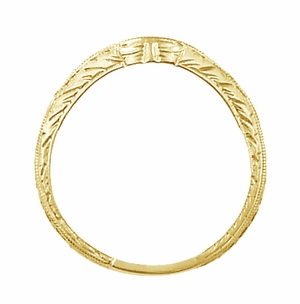 Art Deco Engraved Wheat Curved Diamond Wedding Band in 18 Karat Yellow Gold - Click to enlarge