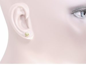 Buttercup Diamond Stud Earrings in 14 Karat Yellow Gold - Item E108 - Image 2