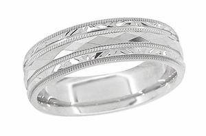 Kaleidoscope and Chevrons Retro Engraved Wedding Band in 14 Karat White Gold - Item R859W - Image 1