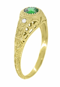 Art Deco Engraved Tsavorite Garnet and Diamond Filigree Engagement Ring in 18 Karat Yellow Gold - Click to enlarge