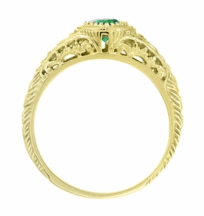 Art Deco Engraved Tsavorite Garnet and Diamond Filigree Engagement Ring in 18 Karat Yellow Gold - Item R138YTS - Image 2
