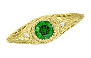Art Deco Engraved Tsavorite Garnet and Diamond Filigree Engagement Ring in 18 Karat Yellow Gold - Item R138YTS - Image 3