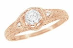 Art Deco White Sapphire Filigree Engraved Engagement Ring in 14 Karat Rose ( Pink ) Gold