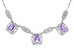 Art Deco Filigree Amethyst 3 Drop Necklace in Sterling Silver