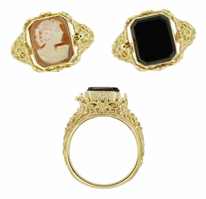 Filigree Flip Ring with Carnelian Shell Cameo and Onyx in 14 Karat Gold - Click to enlarge