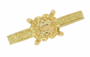 Art Deco 1/3 Carat Crown Scrolls Filigree Engagement Ring Setting in 18 Karat Yellow Gold - Click to enlarge
