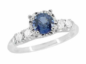 Mid Century Cornflower Blue Sapphire and Diamond Vintage Engagement Ring in 14 Karat White Gold - Click to enlarge