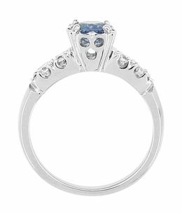 Mid Century Cornflower Blue Sapphire and Diamond Vintage Engagement Ring in 14 Karat White Gold - Item R728W - Image 3