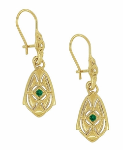 Art Deco Dangling Sterling Silver Emerald and Diamond Filigree Earrings with Yellow Gold Vermeil - Item E178YE - Image 1