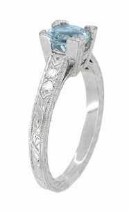 Art Deco 1 Carat Aquamarine and Diamonds Engraved Engagement Ring in 18 Karat White Gold - Click to enlarge