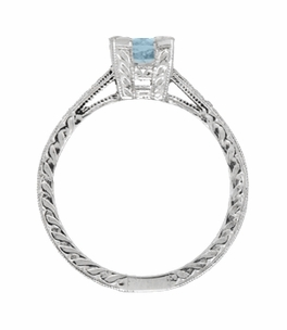 Art Deco 1 Carat Aquamarine and Diamonds Engraved Engagement Ring in 18 Karat White Gold - Item R283W1A - Image 2