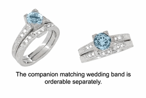 Art Deco 1 Carat Aquamarine and Diamonds Engraved Engagement Ring in 18 Karat White Gold - Item R283W1A - Image 3