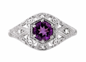 Amethyst and Diamonds Filigree Scroll Dome Edwardian Engagement Ring in 14 Karat White Gold - Click to enlarge