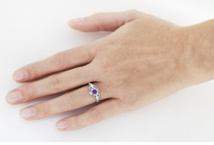 Amethyst and Diamonds Filigree Scroll Dome Edwardian Engagement Ring in 14 Karat White Gold - Item R139 - Image 2
