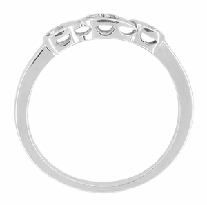 Retro Moderne White Sapphire Filigree Wedding Ring in 14 Karat White Gold - Item WR380WS - Image 1