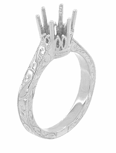Art Deco 1.75 - 2.25 Carat Crown Filigree Scrolls Engagement Ring Setting in Palladium - Item R199PDM175 - Image 3