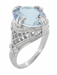 Aquamarine Oval Art Deco Filigree Ring in 14 Karat White Gold - Click to enlarge
