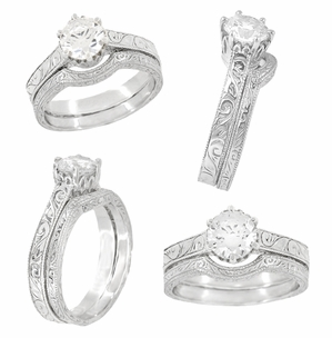 Art Deco 1.75 - 2.25 Carat Crown Filigree Scrolls Engagement Ring Setting in Palladium - Item R199PDM175 - Image 4
