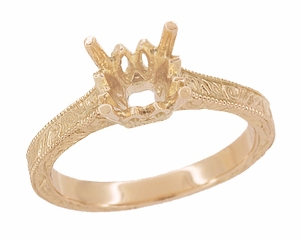 Art Deco 1.50 - 1.75 Carat Crown Scrolls Filigree Engagement Ring Setting in 14 Karat Rose Gold - Click to enlarge