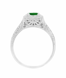 Emerald  Scrolls Engraved Filigree Engagement Ring in 14 Karat White Gold - Click to enlarge