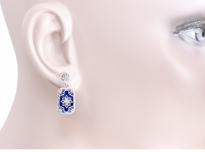 Art Deco Filigree Lapis Lazuli and Diamond Set Earrings in Sterling Silver, 1920s Vintage Engraved Design - Click to enlarge