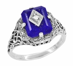 Caroline's Ring - Art Deco Filigree Diamond and Lapis Lazuli Ring in Sterling Silver