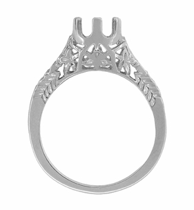 Art Deco 3/4 - 1 Carat Crown of Leaves Filigree Engagement Ring Setting in 18 Karat White Gold - Click to enlarge