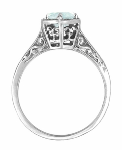 Art Deco Aquamarine Engraved Filigree Ring in 14 Karat White Gold - Click to enlarge