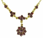 Lovely Victorian Bohemian Garnet Floral Drop Necklace in Sterling Silver and Yellow Gold Vermeil