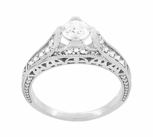 Art Deco Filigree Diamond Wheat Engraved Engagement Ring in 18 Karat White Gold - Item R296W50D - Image 1