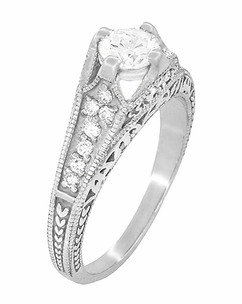 Art Deco Filigree Diamond Wheat Engraved Engagement Ring in 18 Karat White Gold - Item R296W50D - Image 2