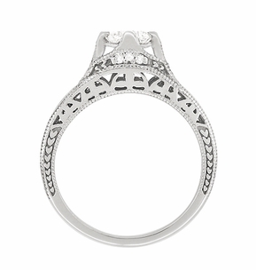 Art Deco Filigree Diamond Wheat Engraved Engagement Ring in 18 Karat White Gold - Item R296W50D - Image 3