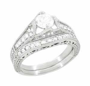 Art Deco Filigree Diamond Wheat Engraved Engagement Ring in 18 Karat White Gold - Item R296W50D - Image 4