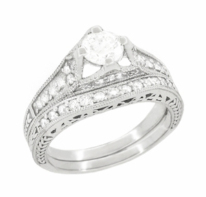 Art Deco Filigree Diamond Wheat Engraved Engagement Ring in Platinum - Item R296P50D - Image 4