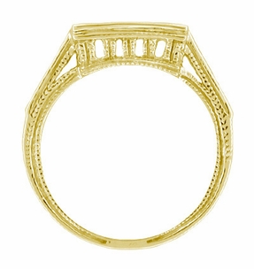 Art Deco Diamond Filigree Wedding Ring in 18 Karat Yellow Gold - Click to enlarge