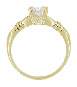 Art Deco Clovers and Hearts White Sapphire Engagement Ring in 14 Karat Yellow Gold - Item R163Y50WS - Image 1