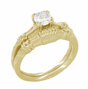 Art Deco Clovers and Hearts White Sapphire Engagement Ring in 14 Karat Yellow Gold - Click to enlarge