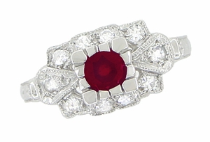 Ruby and Diamond Art Deco Platinum Engagement Ring - Click to enlarge