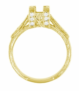 Art Deco 1 Carat Princess Cut Diamond Engagement Ring Setting in 18 Karat Yellow Gold - Click to enlarge