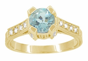 Art Deco Engraved Castle 1 Carat Aquamarine Engagement Ring in 18 Karat Yellow Gold - Item R664YA - Image 1