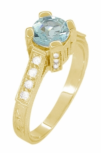 Art Deco Engraved Castle 1 Carat Aquamarine Engagement Ring in 18 Karat Yellow Gold - Click to enlarge