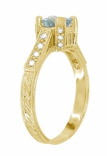 Art Deco Engraved Castle 1 Carat Aquamarine Engagement Ring in 18 Karat Yellow Gold - Item R664YA - Image 3
