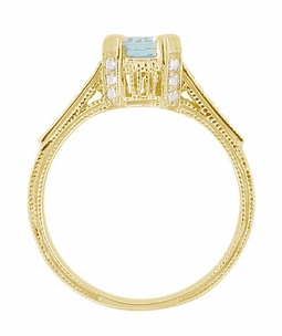 Art Deco Engraved Castle 1 Carat Aquamarine Engagement Ring in 18 Karat Yellow Gold - Item R664YA - Image 5