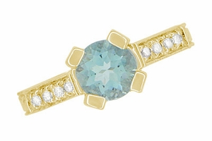 Art Deco Engraved Castle 1 Carat Aquamarine Engagement Ring in 18 Karat Yellow Gold - Item R664YA - Image 6
