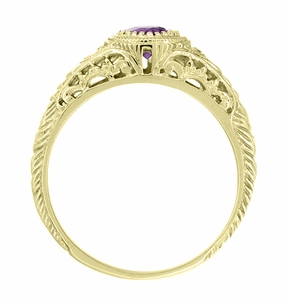 Amethyst and Diamond Filigree Engagement Ring in 18 Karat Yellow Gold - Item R138YAM - Image 2