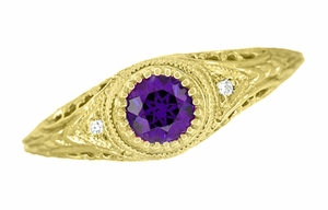 Amethyst and Diamond Filigree Engagement Ring in 18 Karat Yellow Gold - Click to enlarge