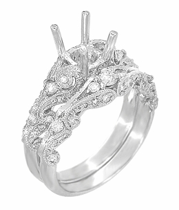 Annika Diamond Engagement Ring Setting and Wedding Ring in Platinum - Item R812P - Image 1