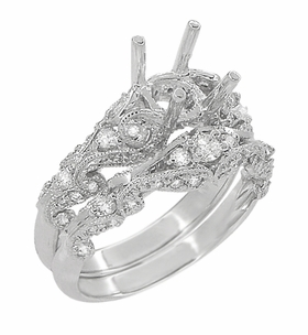 Annika Diamond Engagement Ring Setting and Wedding Ring in Platinum - Item R812P - Image 2