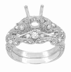 Annika Diamond Engagement Ring Setting and Wedding Ring in Platinum - Item R812P - Image 3