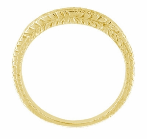 Art Deco Curved Engraved Wheat Diamond Wedding Band in 14 Karat Yellow Gold - Item R635Y14D - Image 2